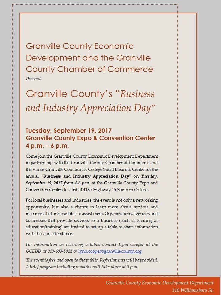 Business and Industry Appreciation Day flyer; September 19; 4-6pm; Granville County Expo Center