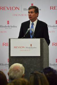 Roy Cooper speaks at Revlon