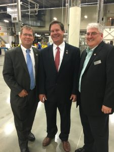 Granville County Chairman of the Board of Commissioners, Tim Karan, stands with Representative Larry Yarborough and Granville County Manager, Mike Felts.