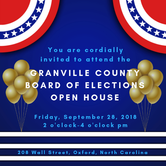 Board of Elections Open House Invitation for September 28 at 2 pm at 208 Wall Street in Oxford