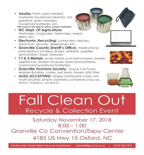 Fall Clean Out Scheduled At Granville County Expo Center