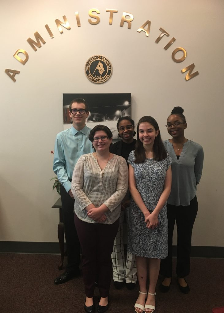 The five interns selected for the 2019 Summer Civic Leadership intern program.