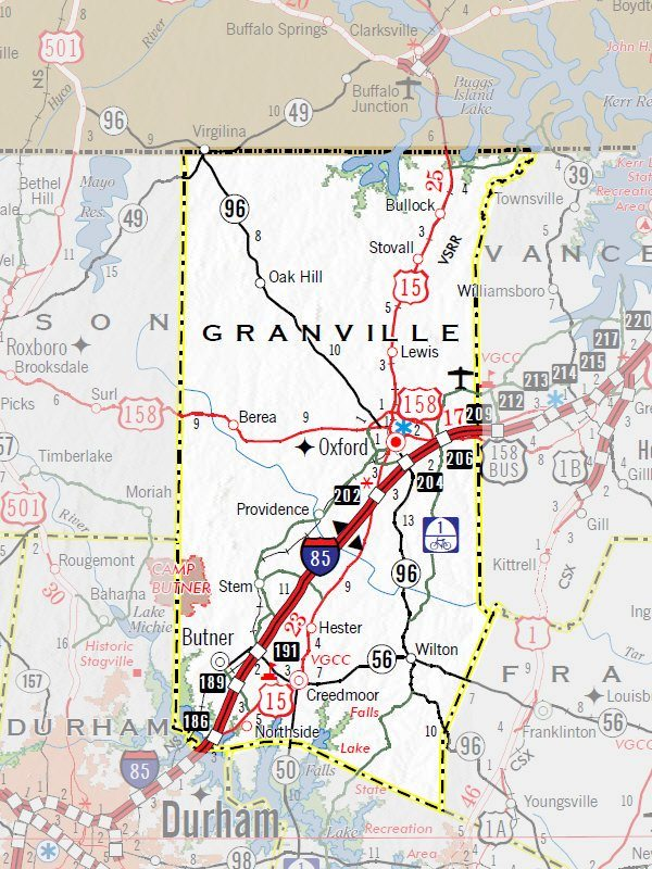 Granville County DOT highway map