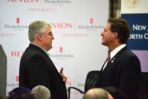 County Manager, Mike Felts, speaks with Representative Larry Yarborough