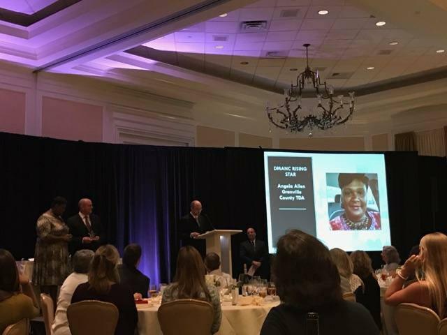 Angela Allen accepts award for tourism