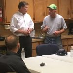 Mike Causey talks with local fire departments