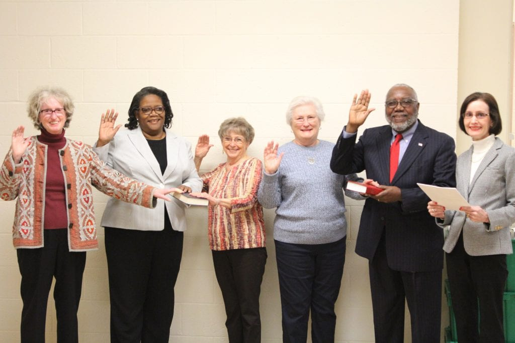 photo of current five-member board and Director of the Granville County Board of Elections