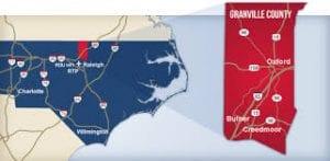 map of north carolina & granville county