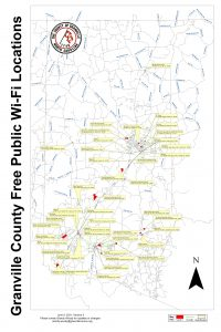 Map of free public wi-fi in Granville County